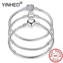 YINHED Hot Sale 3 Style Pan Bracelet Women Original 925 Sterling Silver Snake Chain Bangle Bracelet DIY Jewelry Fit Beads ZB041 цена и фото