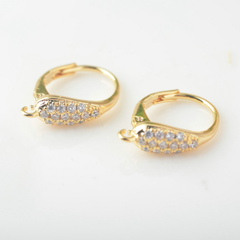 4PCS Height 17*12MM 24K Gold Color Brass With White Zircon Oval Circle Earrings Hooks Diy Accessories Jewelry Findings