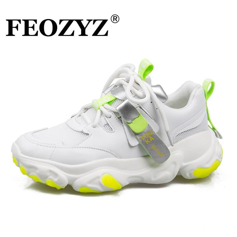 FEOZYZ mode baskets femmes en cuir + maille supérieure chaussures de course pour femmes chaussures de marche confortables baskets