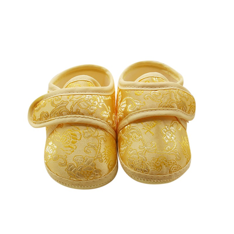 Baby 0-18M First Walker Baby Chinese Style Soft Bottom Shoes Retro Golden Floral Embroidery Prewalker Baby Shoes Lassie