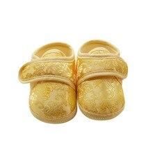 Лесси детская 0-18 м впервые Уокер детские стиль китайский мягкое дно обувь ретро Золотой цветочный вышивка Prewalker Детская обувь