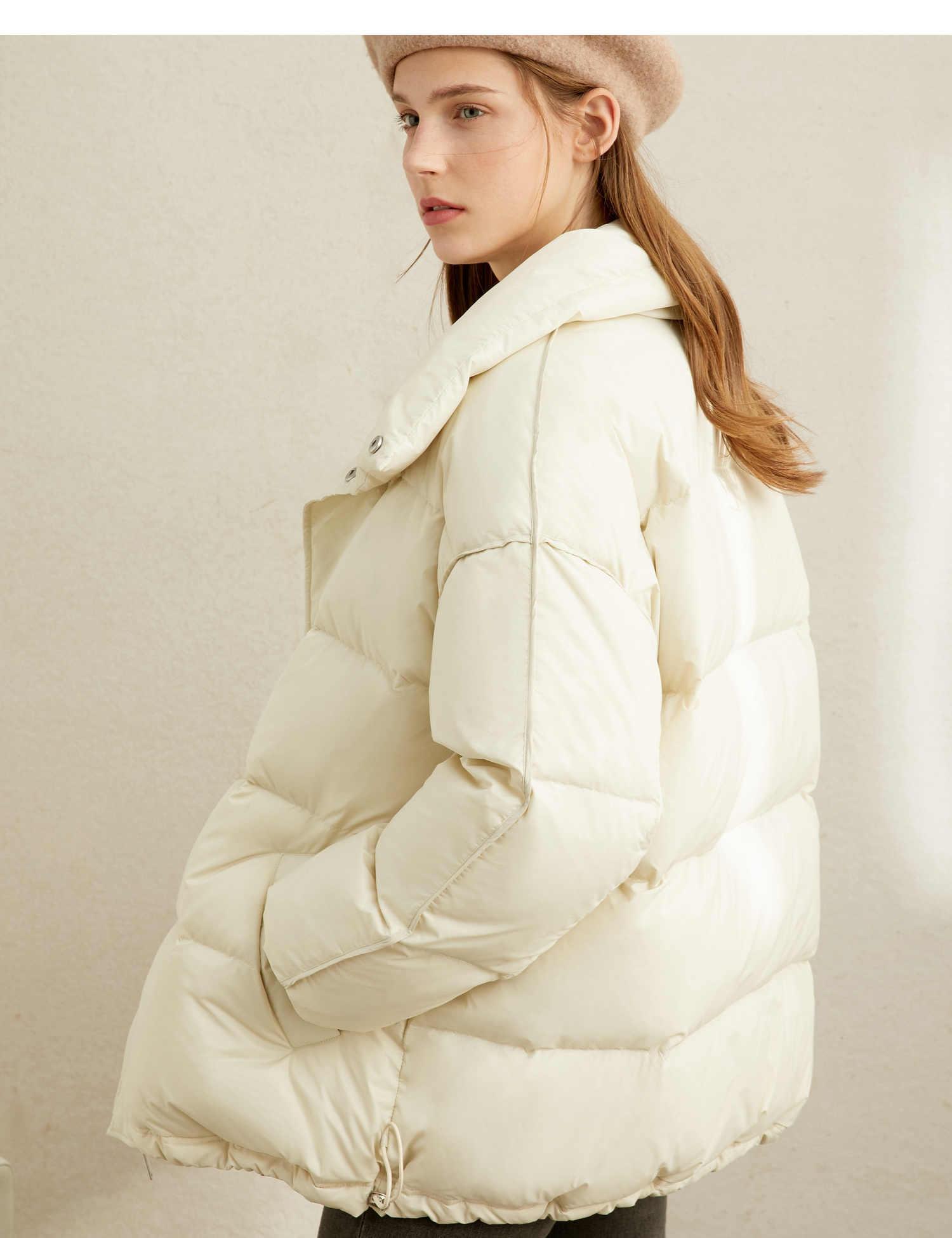 Amii Europäischen Station 90 Weiße Ente Unten Licht Unten Kleid Weibliche Winter Bekleidungs Neue Warme Kurze Brot Mantel für 2019