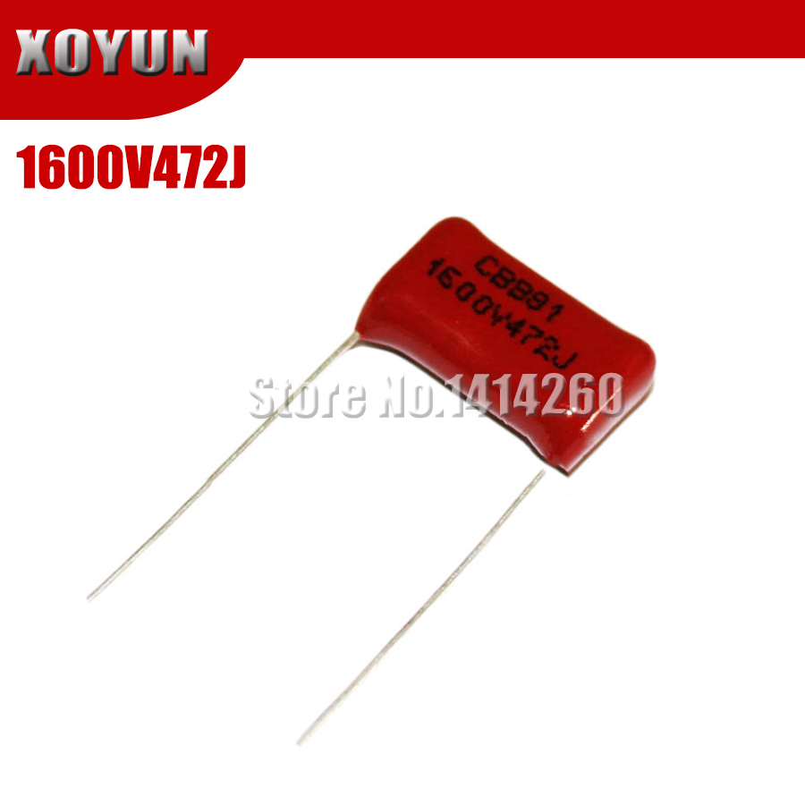 10PCS CBB 1600V472J 1600V 0.0047UF 4700PF 472J 1600V Pitch 15mm CBB Polypropylene Film Capacitor