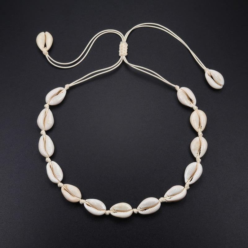 Boêmio concha colar feminino verão praia concha colar gargantilha artesanal clavícula corda corrente moda vsco menina jóias presentes