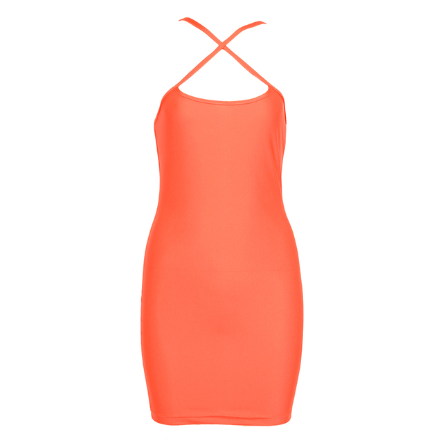 New Orange Neon Bodycon Kylie Jenner Casual Mini Party Night Summer Dress 3
