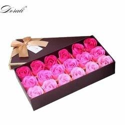 18Pcs Scented Rose Flower Petal Bath Body Soap Wedding Party Gift Flor De Jabon Home Decoration Holding Flowers
