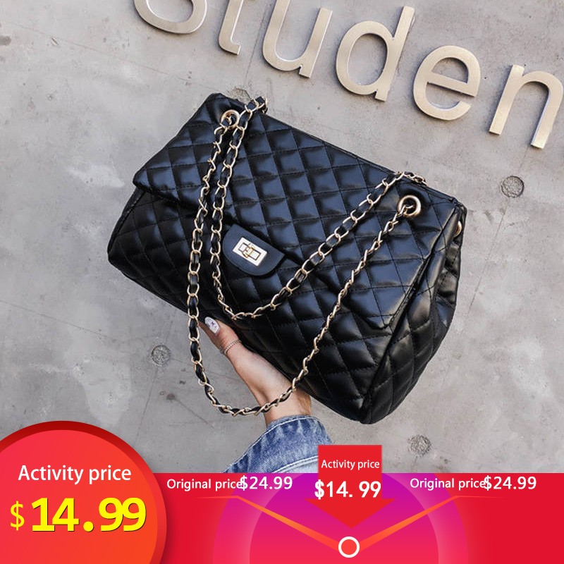 Bag Woman Famous Luxury Brands Plaid Pattern Fashion PU Leather Chain Female Crossbody Bags High Quality Lady Shoulder Totes