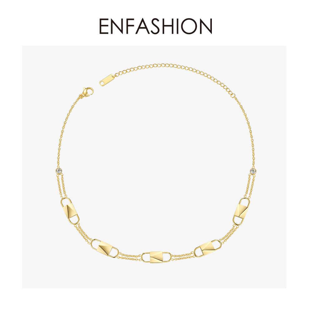 ENFASHION Lock choker kryształowy naszyjnik kobiety złoty kolor stal nierdzewna Punk wisiorki naszyjniki biżuteria Femme P193037