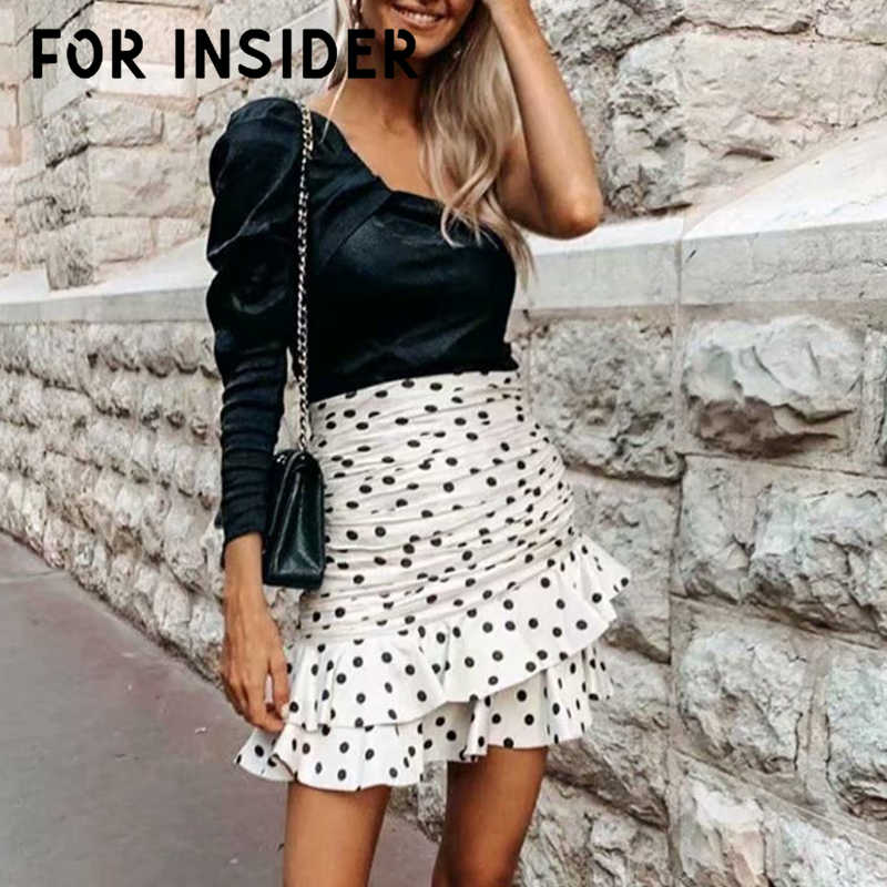 Polka dot pleated vintage white skirt High waist ruffles autumn winter elegant skirt women Korean summer short mini skirt sexy
