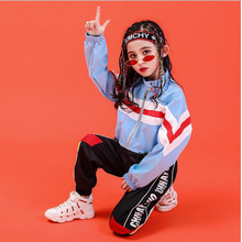 Детский свитер, рубашка, укороченные штаны для бега, одежда в стиле хип-хоп, одежда для девочек, Джазовый танцевальный бальный костюм, Одежда для танцев