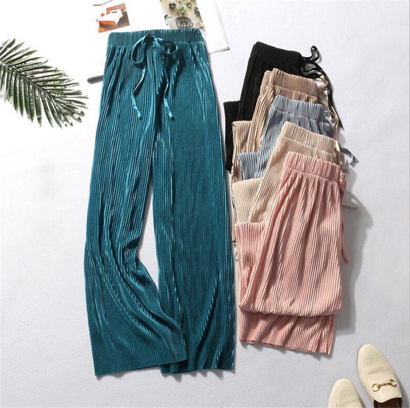 Women Vintage Wide Leg Pant Baggy Elastic High Waist Pants Fashion Pleated Long Flared Trousers Ladies Casual Solid Clothes