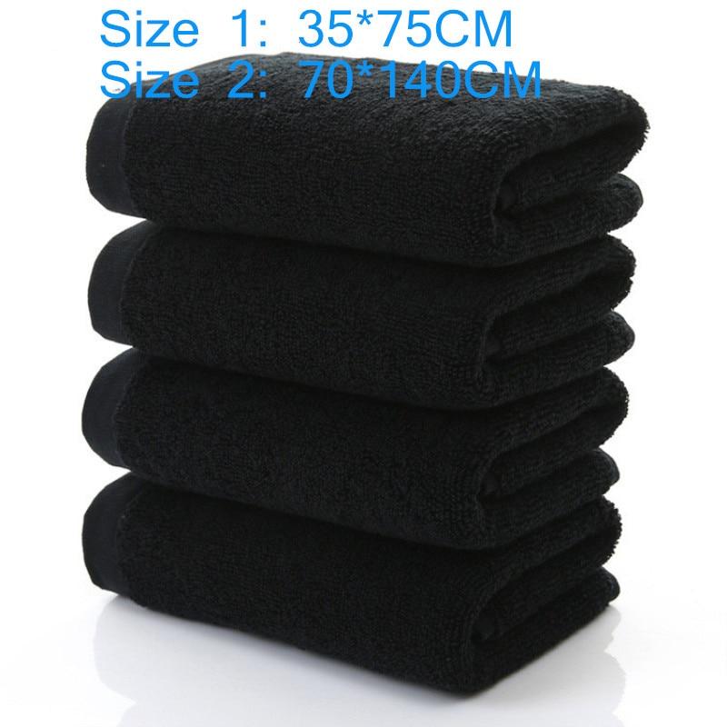 100% хлопковое выцветающее черное полотенце, жаккардовое полотенце из мягкого бамбукового волокна, утолщенное Впитывающее черное полотенце ...