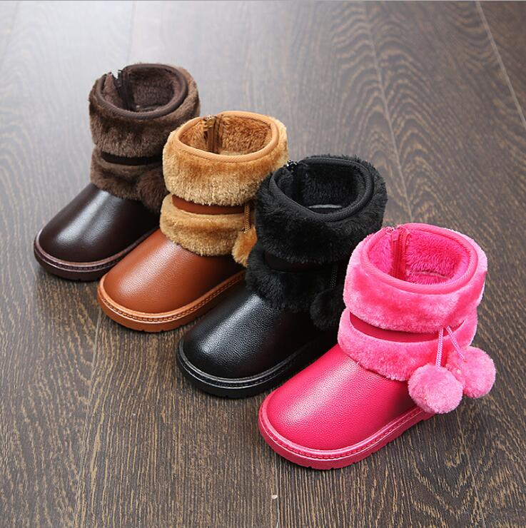 Kids Boots Girls Toddler Boots Snow Winter Warm Children Shoes Girl Booties Bota Infantil Leather Baby Waterproof Shoes Kids