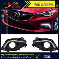 Free shipping ! 12V 6000k LED DRL Daytime running light for Mazda 6 Mazda6 Atenza Mazda6 fog lamp frame Fog light Car styling