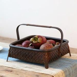 Image 4 - Bamboo woven storage basket hand made retro bamboo woven retro dried fruit tea set box kitchen interior household items