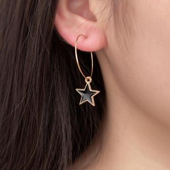 Hot European And American Fashion New Earrings Black Soft Sister Temperament Punk Retro Five-pointed Star Ladies Earrings image