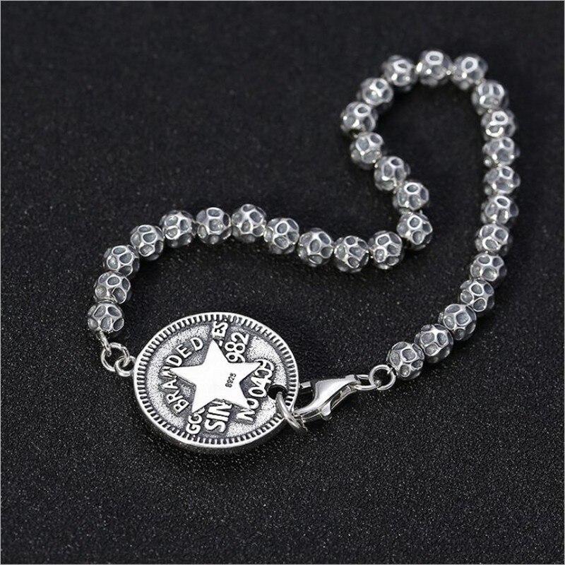 S925 argent pur créatif vent frais hommes et femmes chaîne en argent Thai argent cinq branches étoile lettre ronde hommes bracelet en argent - 4
