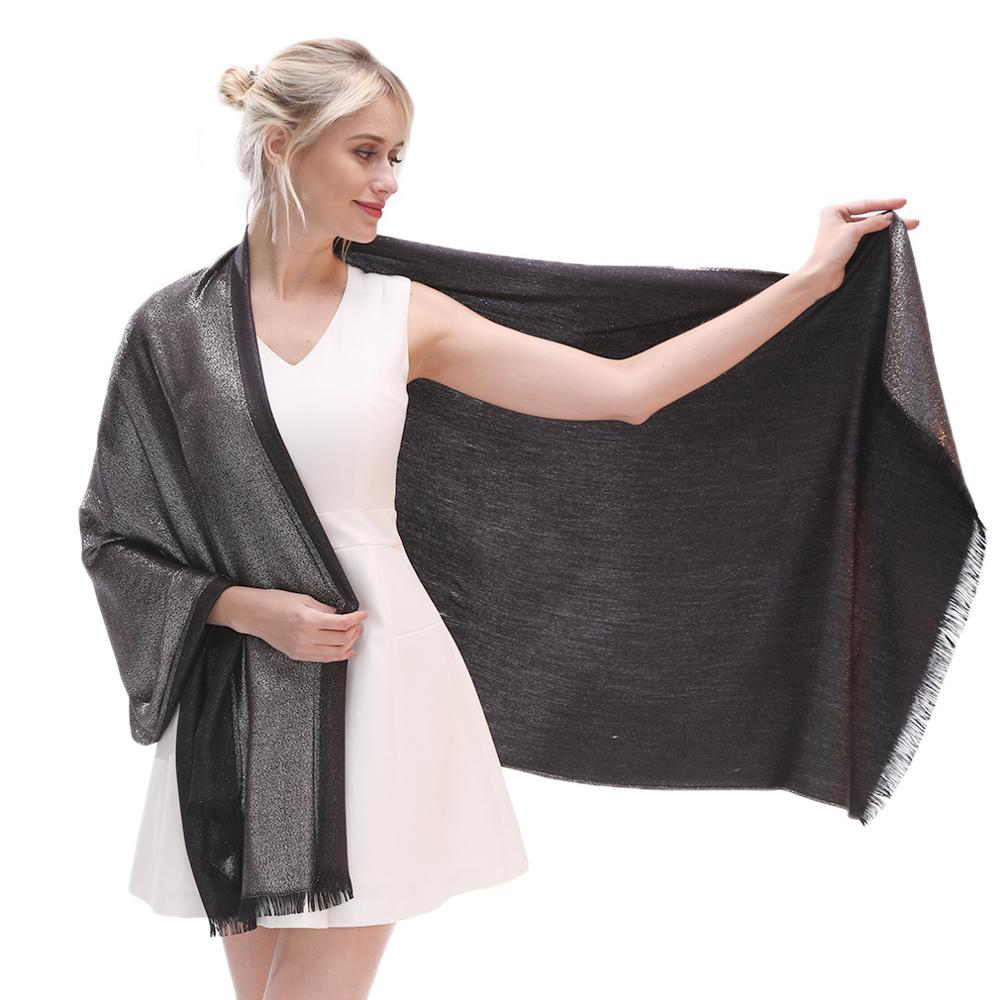 Luxury Brand 2019 Ladies Gold Silver Yarn Winter Shawl Scarf For Evening Dress Soild Pashmina Femme Foulard Warm Neck Scarf