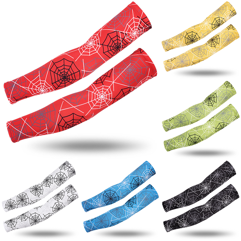 Black Red Blue Cycling Spider Web Arm Sleeves Warmer Running UV Protection Volleyball Sunscreen Bands Ice Silk Gloves Sleeves