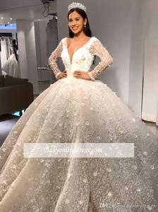 Image 2 - Luxury Beads Ball Gown Wedding Dresses V Neck Sequins Beadings Floral Appliques Long Sleeve Bridal Gown robe de mariee