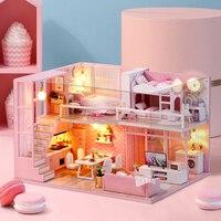 Милый набор для кукольного дома «сделай сам», миниатюрный деревянный кукольный дом, мебель, пылезащитный чехол, набор для кукольного дома, м...