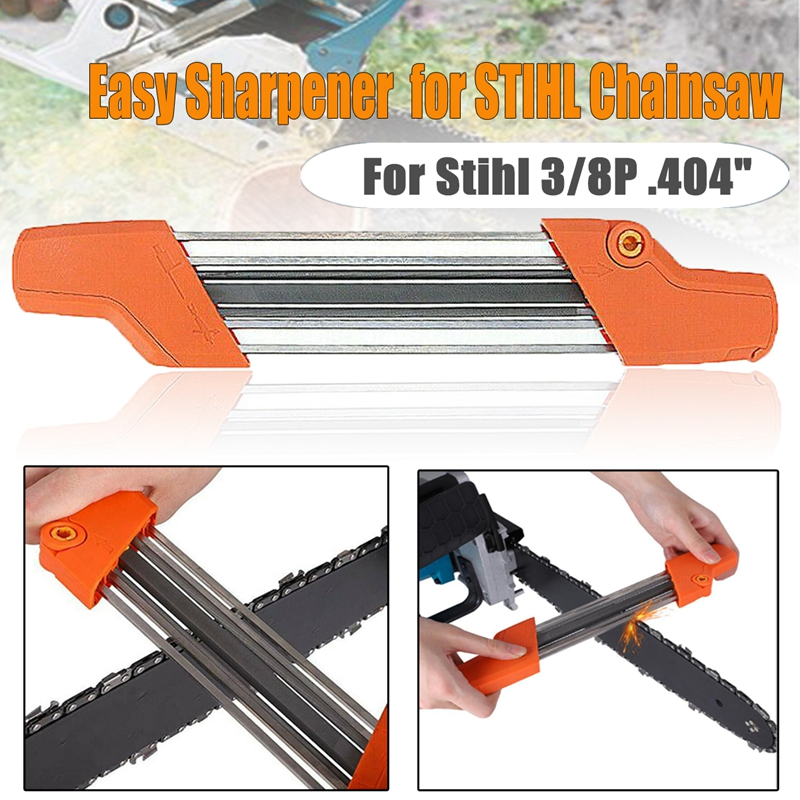 Orange 2 IN 1 13/64 5.2mm Chainsaw File Sharpener Chain Quick Chain Saw Sharpening Kit For Stihl 3/8P .404 Inch Accessory Tool
