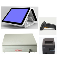 Cheap Touch Screen Pos System Dual Screen Cash Register Terminal Machine All In One