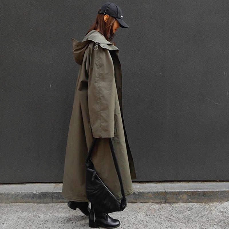 2019 الخريف والشتاء جديد الجيش الكورية الأخضر المرأة سترة واقية فضفاضة كبيرة الحجم مقنعين عباءة المرأة
