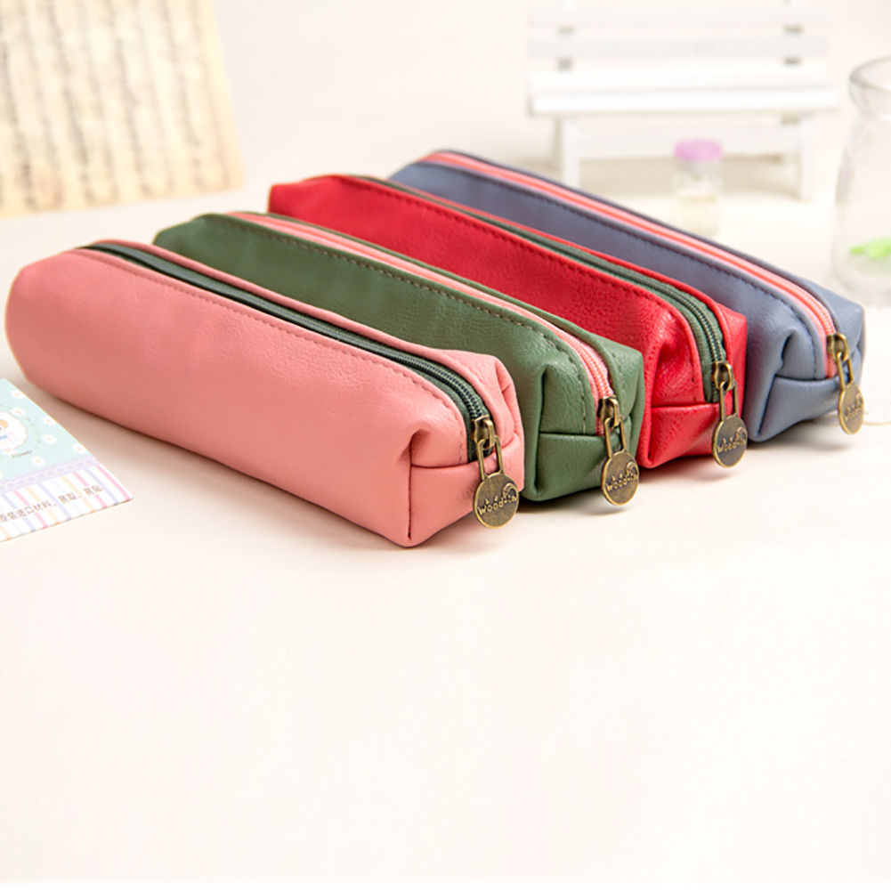 Korean  Fashion Durable Cosmetic Bag Women Small PU Leather Makeup Bags Pencil Pen Case Ladies Cosmetics