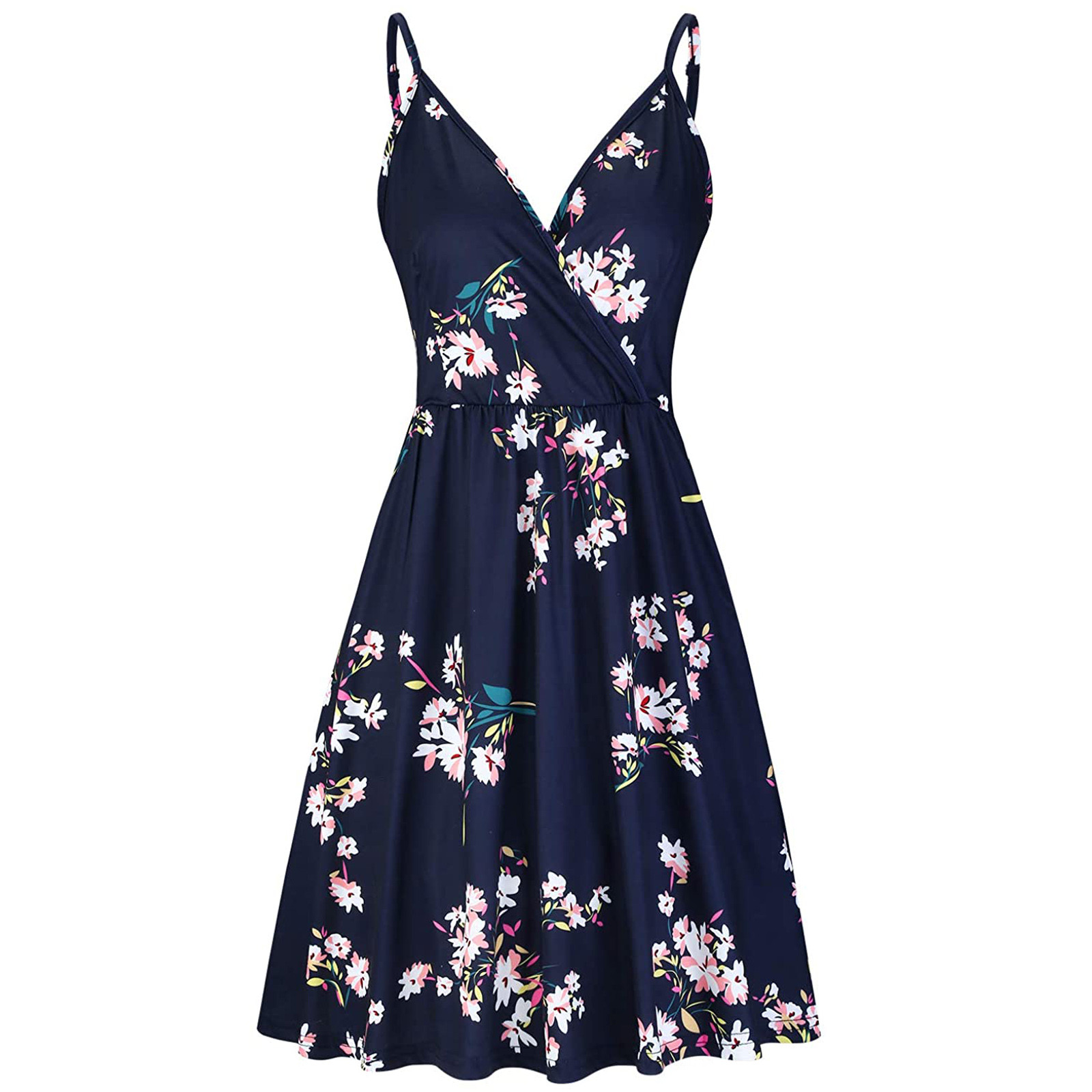 Women's V Neck Floral Spaghetti Strap Summer Casual Swing Dress with Pocket 1