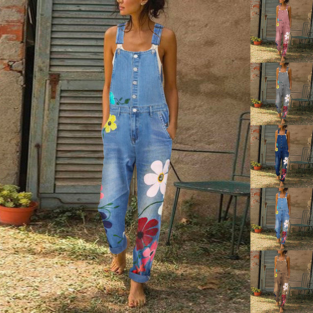 Womens Denim Jumpsuits Jeans Bib Pants Floral Print Rompers With Pockets Casual Denim Overall Women Fashion Streetwear Pants