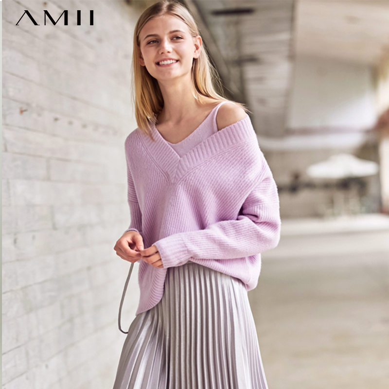 Amii  Autumn Women Two Pieces Set Female Elegant V Neck Sling Tank And Pullovers Sweater Tops 11820125
