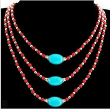 +++906 3S Tibet style Tibetan Silver stunning turquoise&Red Coral beads Necklace(China)