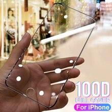 100D Bảo Vệ Kính Cường Lực Trên Dành Cho iPhone 6 6 S 7 8 Plus X 10 Kính Trên cho Iphone 11 Pro Max X XR XS Max