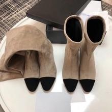 Chueyz/роскошные классические женские ботинки без шнуровки на среднем каблуке зимние ботинки с круглым носком на квадратном каблуке Новая модная обувь черного цвета размеры 34-40