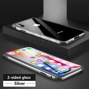 Image 5 - Metal magnetyczny etui do iphone X X Xs 11 Pro Max szkło hartowane z powrotem magnes skrzynki pokrywa dla iphone 6 6S 7 8 Plus skrzynki pokrywa