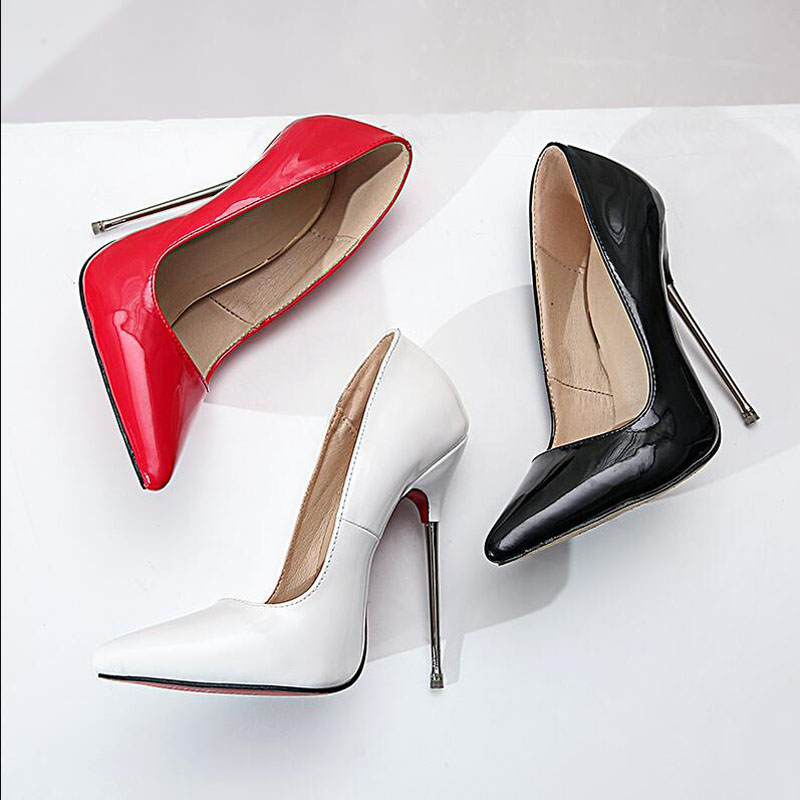 New 2019 Sexy Lady High Heels Shoes Thin Ultra Heeled 13cm Metal Plating High-heeled Shoes Pointed Women's Single Shoes T-123-5