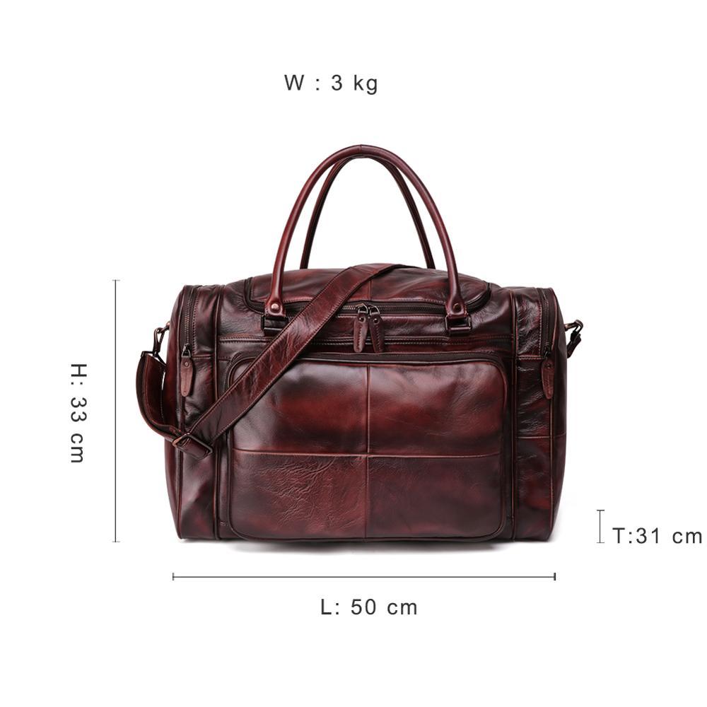 JOYIR sac polochon homme en cuir véritable sac de voyage bagage sac à main homme sac de voyage grande capacité sac à bandoulière en cuir fourre tout homme - 2