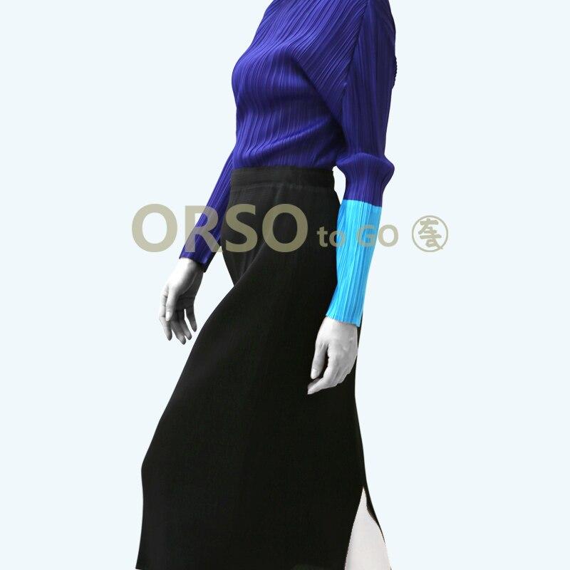 High Fashion Frühling Solide T Shirts Frauen Designer Langarm Falten T Shirt Weibliche Büro Arbeit Tragen Hemd Tops Elegante - 2
