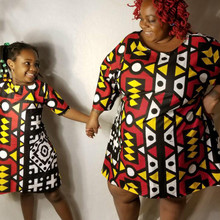 Dashiki African Dresses for Women Mom and Daughter Dresses African Clothing Geometric African Dress Bazin Riche African Clothes african symbolism
