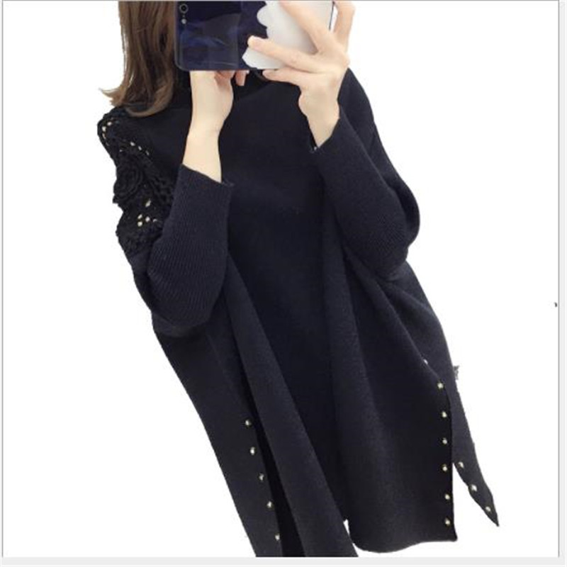 Hollow Out Women Sweater Pullovers Winter 2019 Knitted Tops Jumper Cloak Lady Batwing Sleeve Pull Femme Oversize Knitwear M252