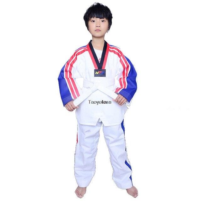 dos homens crianças taekwondo uniforme com bordado