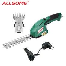 ALLSOME электрический триммер для живой изгороди 2 в 1 7,2 в беспроводной домашний триммер перезаряжаемый прополка ножницы Обрезка косилка HT2668