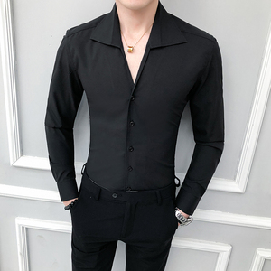 Image 1 - Camisa de alta calidad para hombre, moda sólida 2020, manga larga, esmoquin, vestido ajustado con cuello vuelto, camisas sociales informales 3XL