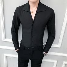 Camisa masculina de alta qualidade sólida moda 2020 manga comprida smoking camisa vestido fino ajuste turn down collar casual camisas sociais men 3xl