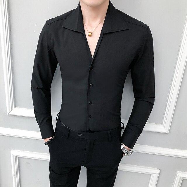 Yüksek kaliteli erkek gömlek katı moda 2020 uzun kollu smokin gömlek elbise Slim Fit Turn Down yaka Casual sosyal gömlek erkekler 3XL
