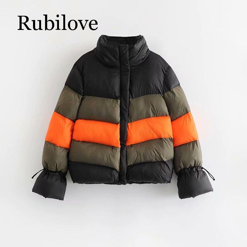 Rubilove Color block winter jacket women padded parka feminina Korean womens fashion 2019