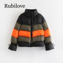 Rubilove Color block winter jacket women padded parka feminina Korean womens fashion 2019
