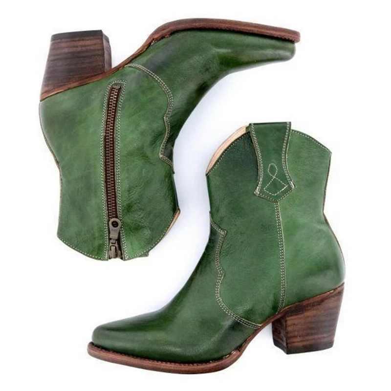 PUIMENTIUA/2019 Новые Модные Винтажные женские ботинки ковбойские ботинки до середины икры на низком каблуке с пряжкой модная повседневная обувь на платформе Размеры 35-43