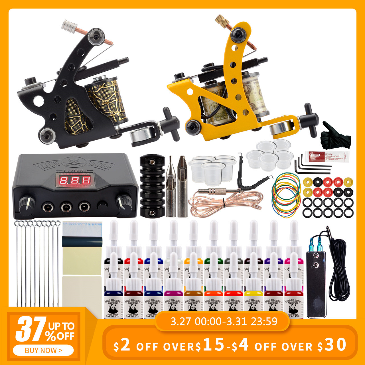 Starter Tattoo Set 2 Coils Guns 20 Colors Pigment Inks Sets Black Power Permanent Makeup Tattoo Kit Tattoo Machine Set